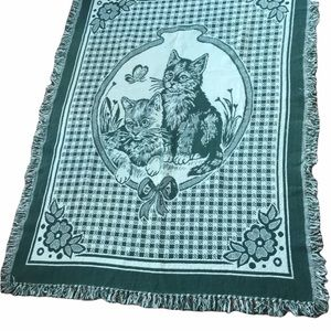Vintage green cats checkered woven blanket throw